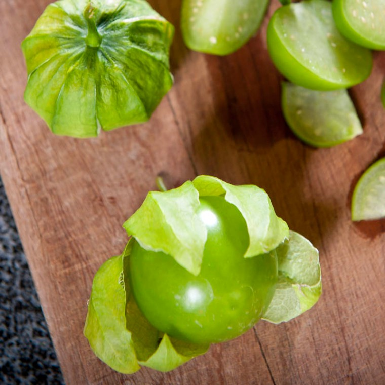 The tomatillo (Physalis philadelphica), also known as a husk tomato or Mexican tomato.(© All Rights Reserved)