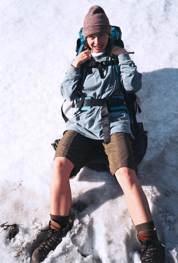 Having fun in the snow during a mountain hike. (© All Rights Reserved)