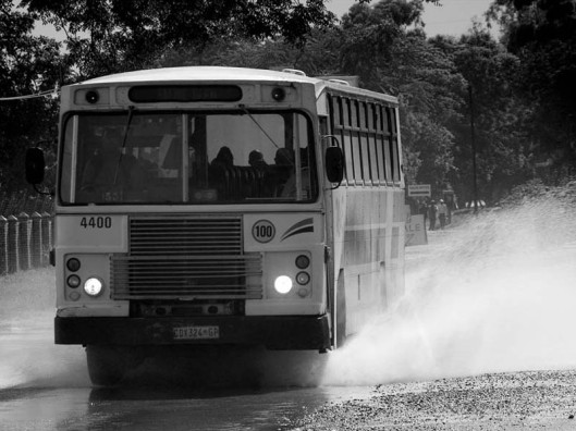 Bus drivers not only have to manoeuvre their precious load through heavy traffic, but are often also faced with adverse road and weather conditions.(© All Rights Reserved)