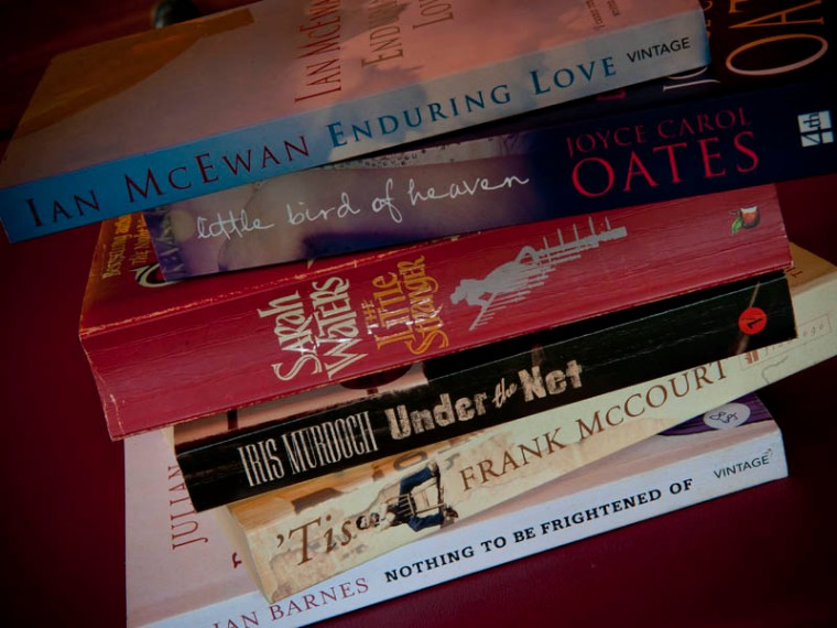 In celebration of World Book and Copyright Day, my humble attempt at spine poetry (a wonderfully fun art form that I first heard about from A Little Blog Of Books And Other Stuff). (© All Rights Reserved)