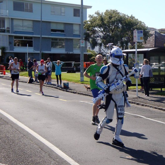 It doesn't take a lot of convincing to get Star Wars fans dressed up in their favourite outfits from the movies. Some are, however, a touch more committed than others - not content to wear his Star Trooper outfit to Star Wars parties only, this fan opted to run 42km on a warm, sunny day in the Auckland Marathon in New Zealand.  (© All Rights Reserved)