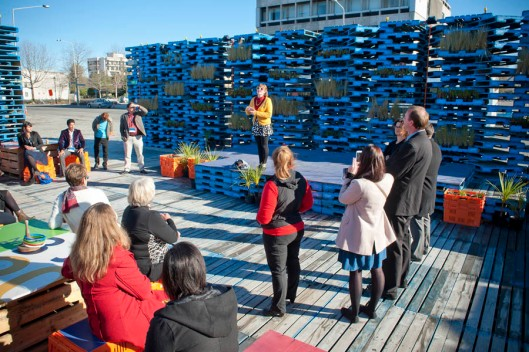 The Pallet Pavillion - a temporary performance space for musicians and other performers, built on a demolished building site. (© All Rights Reserved)